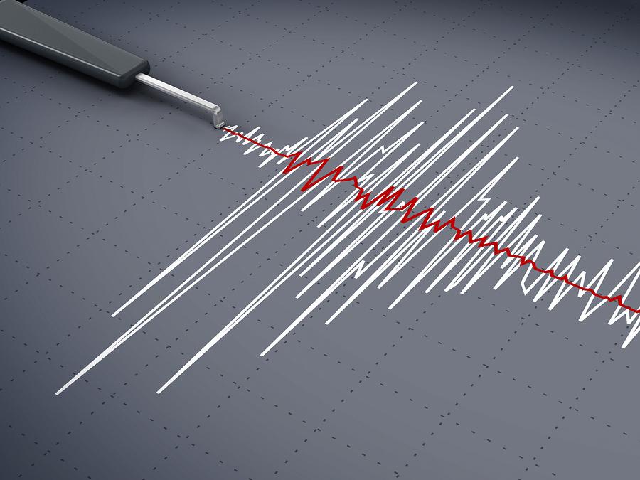 gráfico de la actividad sísmica que muestra un momento del terremoto