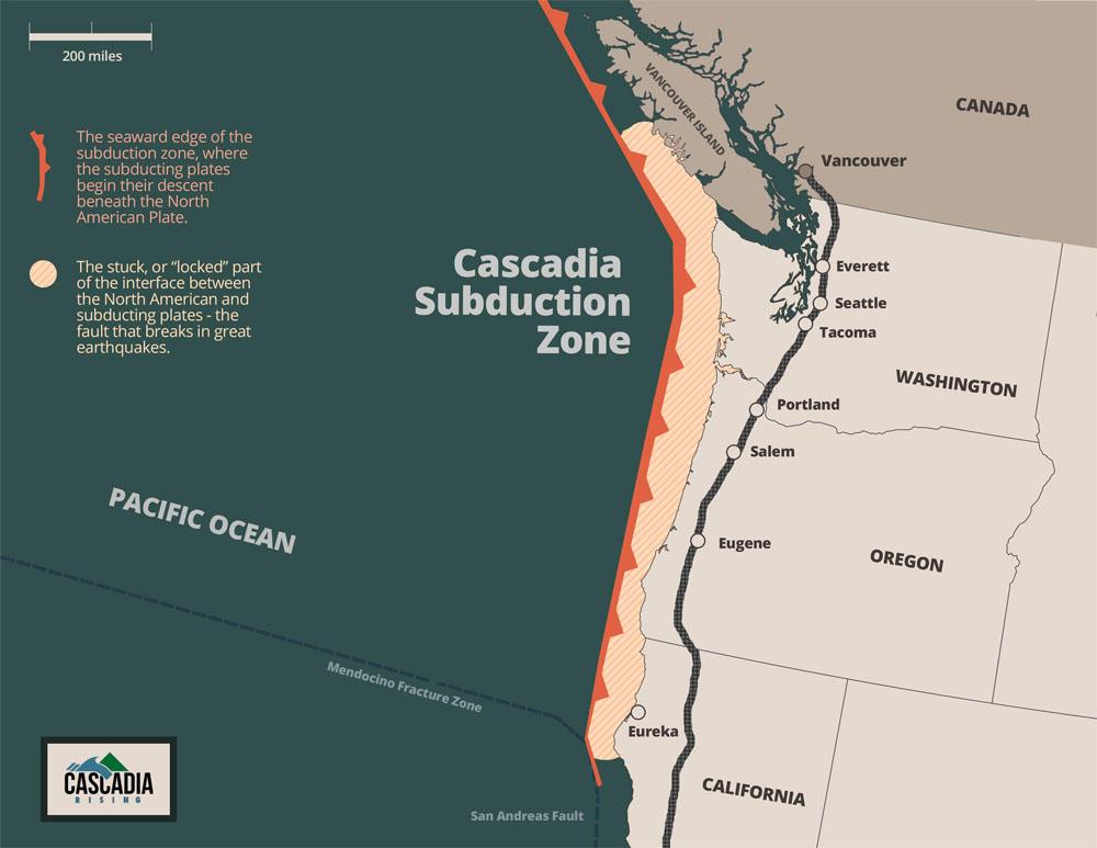 Cascadia-subducción zona de ruta
